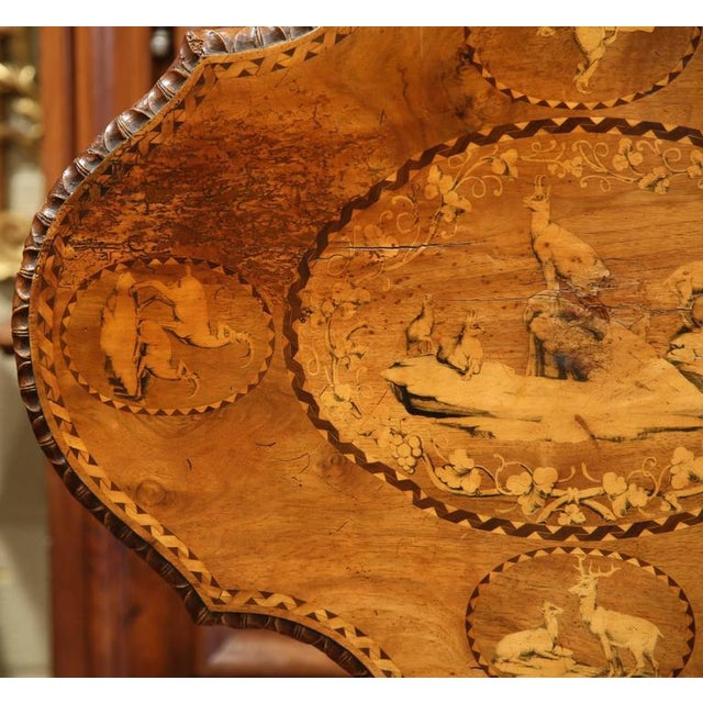 Brown 19th Century Swiss Black Forest Carved Walnut Side Table With Deer Inlay Scenes For Sale - Image 8 of 10
