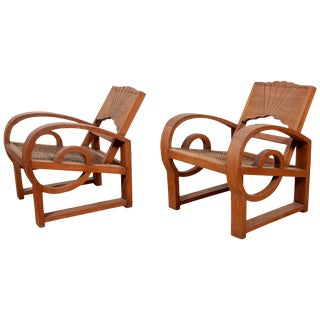 Teak Wood Country Chairs From Madura With Rattan Seats and Looping Arms - a Pair For Sale