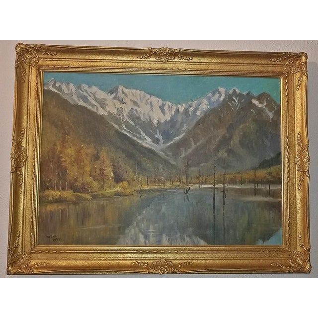 Hiyashi NoBuo Large Oil on Canvas – Lake & Snow Mountains For Sale - Image 9 of 9
