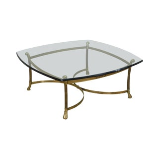 Quality Vintage Brass Base Glass Top Coffee Table For Sale