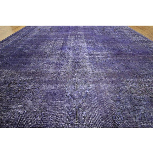 "Purple Overdyed Oriental Rug - 10' 1"" x 12' 1"" - Image 6 of 10"