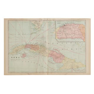 Cram's 1907 Map of Cuba For Sale