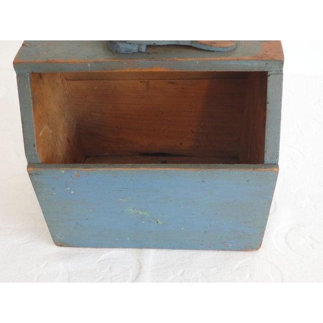 19th Century Original Blue Shoe Shine Box from Maine - Image 3 of 6