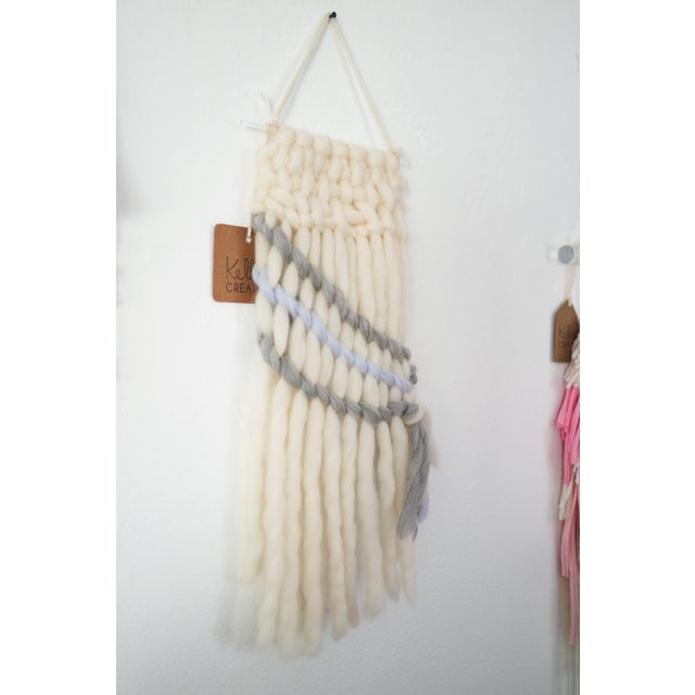 Handwoven Cream, Gray & Pale Blue Wall Hanging - Image 4 of 5