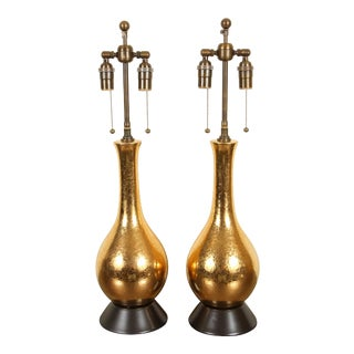 1960s Gold Crackled Glazed Lamps - a Pair For Sale