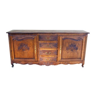 Antique French Walnut Sideboard With Ornate Carvings For Sale