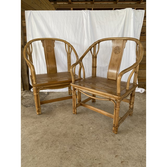 Henredon Ming Rattan Chairs - a Pair For Sale - Image 13 of 13