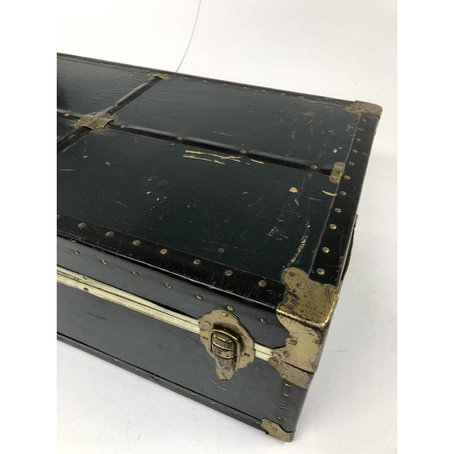 Vintage Vulcanized Black Steamer Trunk With Tray For Sale - Image 10 of 12