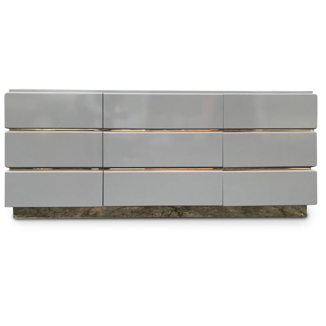 Gold Vintage Lane Lacquered and Brass Credenza For Sale - Image 8 of 8