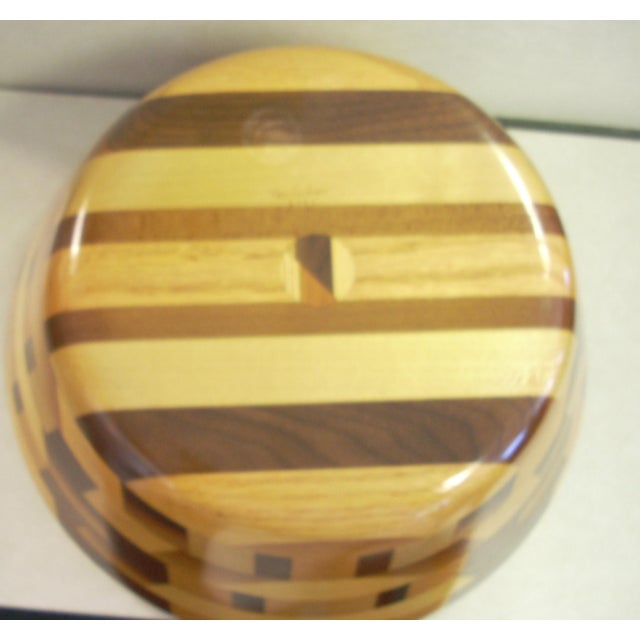 Contemporary Tom Sullivan Geometric Mixed Wood Salad Bowl For Sale - Image 3 of 6