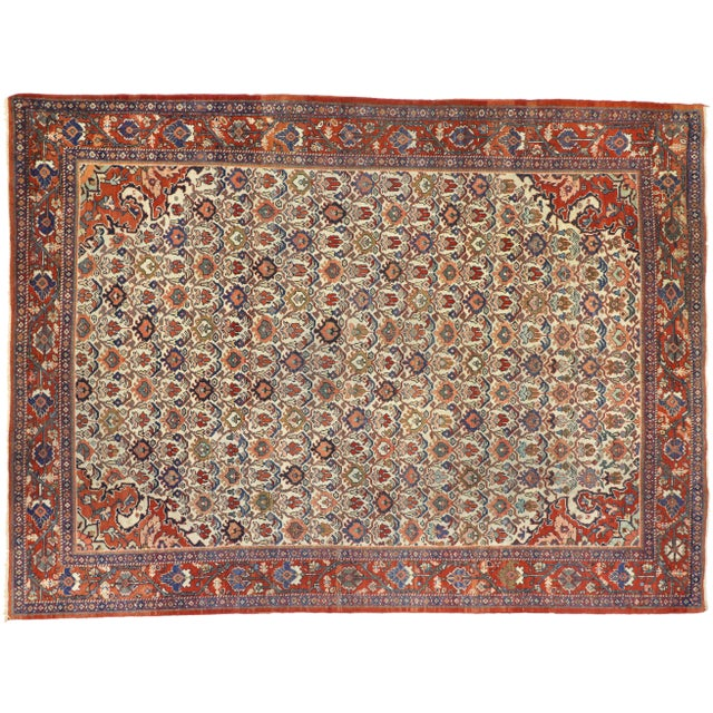 1920s Antique Persian Mahal Rug- 8′8″ × 11′7″ For Sale - Image 9 of 10