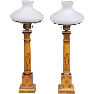 English Pair of Tall Converted Gas Lamps For Sale
