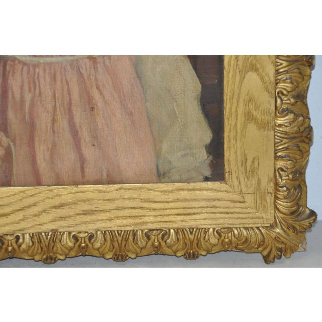 """19th Century """"Young Girl in a Pink Dress"""" Portrait Oil Painting For Sale - Image 4 of 9"""