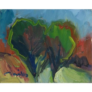 """""""Trees"""" Contemporary Expressionist Style Landscape Oil Painting by Jose Trujillo For Sale"""