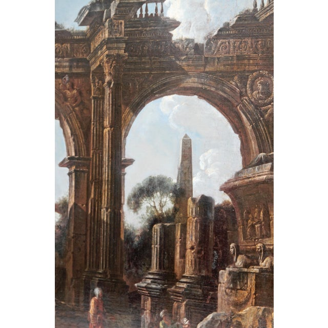 Baroque Painting / Classical Ruins Attributed to Giovanni Ghisolfi (1623-1683) For Sale In Dallas - Image 6 of 13