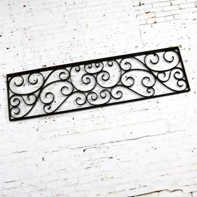 Antique Swirled Design Wrought Iron Railing Piece Trellis or Fence Section For Sale - Image 4 of 13