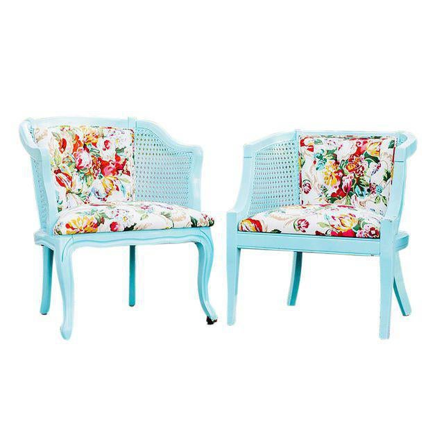 Mid-Century Blue Floral Chairs - A Pair - Image 2 of 10