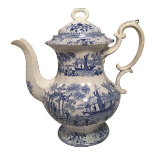 Antique Staffordshire Blue and White Transferware Coffee Pot For Sale
