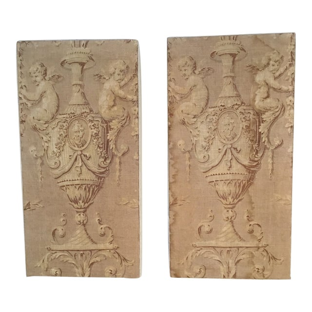 18th Century French Textile Printed Linen Panels - a Pair For Sale