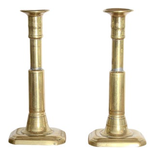 Pair of Polished Brass Candlesticks With Rectangular Base For Sale