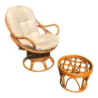 Classic Bamboo Swivel Chair & Ottoman For Sale