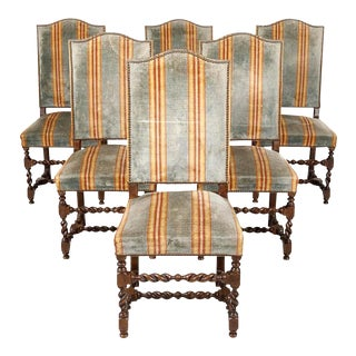 Antique French Louis XIII Style Barley Twist Dining Chairs - Set of 6 For Sale