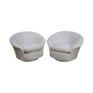 Vladimir Kagan for Directional Round Swivel Base Pair of Lounge Chairs