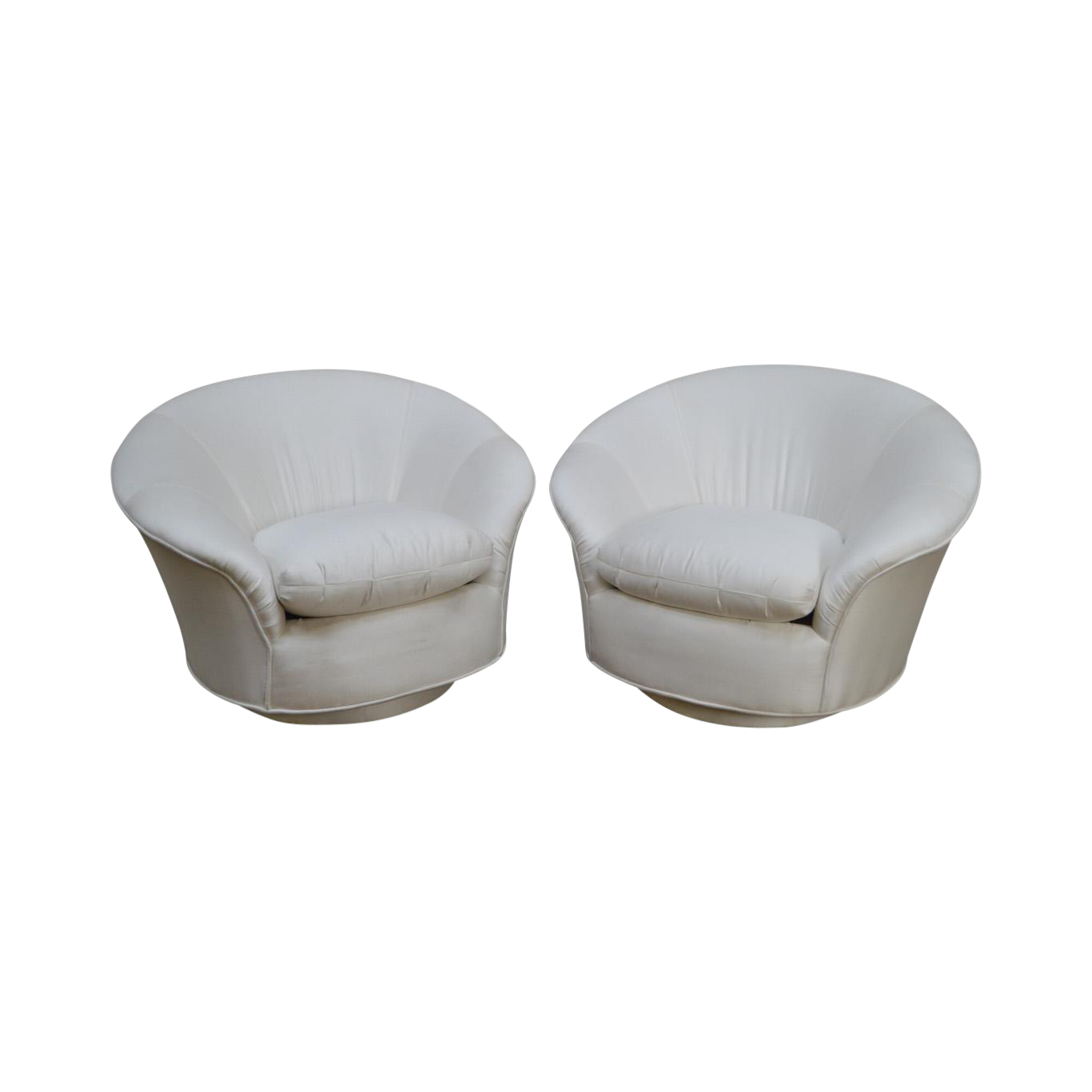 Vladimir Kagan For Directional Round Swivel Base Pair Of Lounge Chairs For  Sale