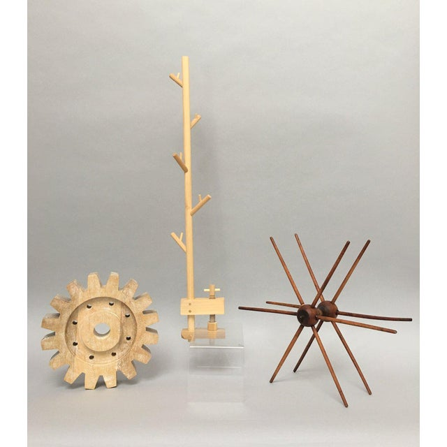 Tan Industrial Rustic Modern Whitewashed Wood Cog Sculpture For Sale - Image 8 of 10