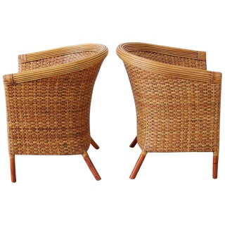 Pair of Palecek Bamboo Rattan Wicker Barrel Chairs For Sale