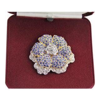 Vintage Jbk Camrose & Kross Blue Rhinestone Flower Brooch For Sale