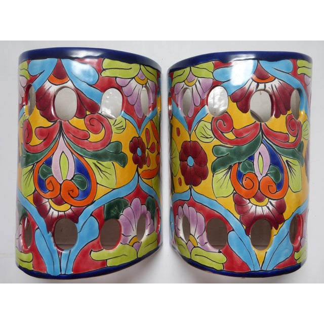 Early 21st Century Mexican Talavera Hand Painted Ceramic Wall Lantern Sconces - a Pair For Sale - Image 5 of 7
