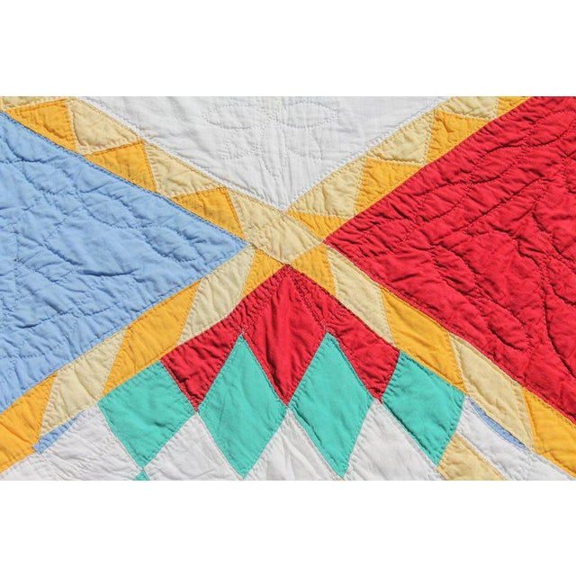 White Antique Northeastern Star Quilt For Sale - Image 8 of 11
