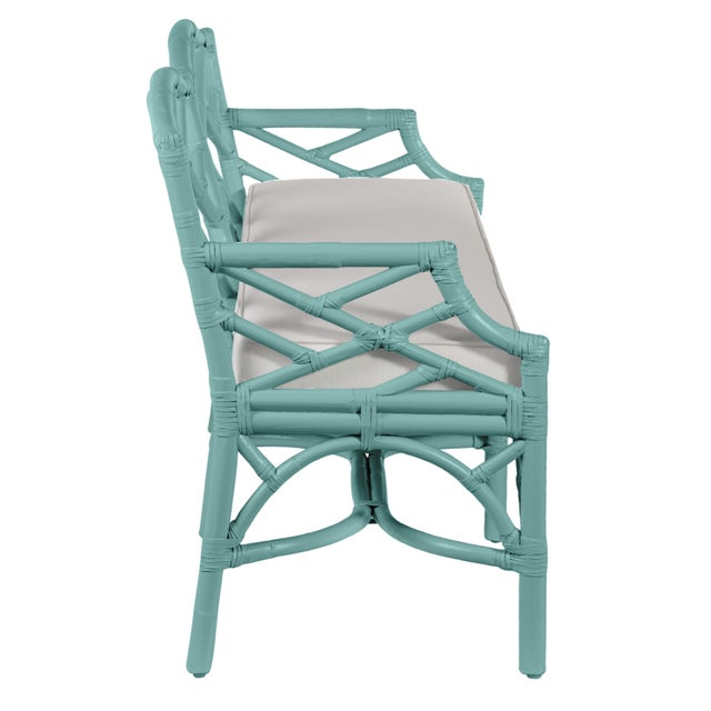David Francis Chippendale Bench - Turquoise For Sale - Image 4 of 6