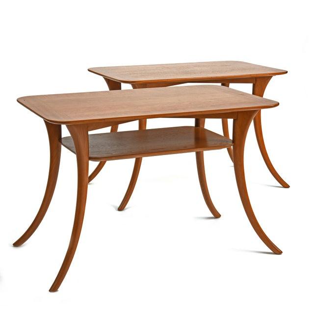 Designed by T.H. Robsjohn-Gibbings for Widdicomb Furniture A pair of Klismos Leg End or Side Tables, Model 3328...