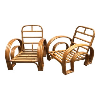 Paul Frankl Style Three Strand Rattan Lounge Chairs - a Pair