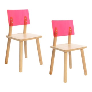 Nico & Yeye AC/BC Kids Chair Solid Maple Pink Acrylic Back - Set of 2 For Sale