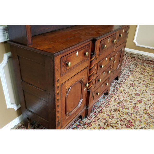 19th Century Antique Oak Inlaid Welsh Jacobean Style Dining Room Hallway Cabinet Cupboard Hutch