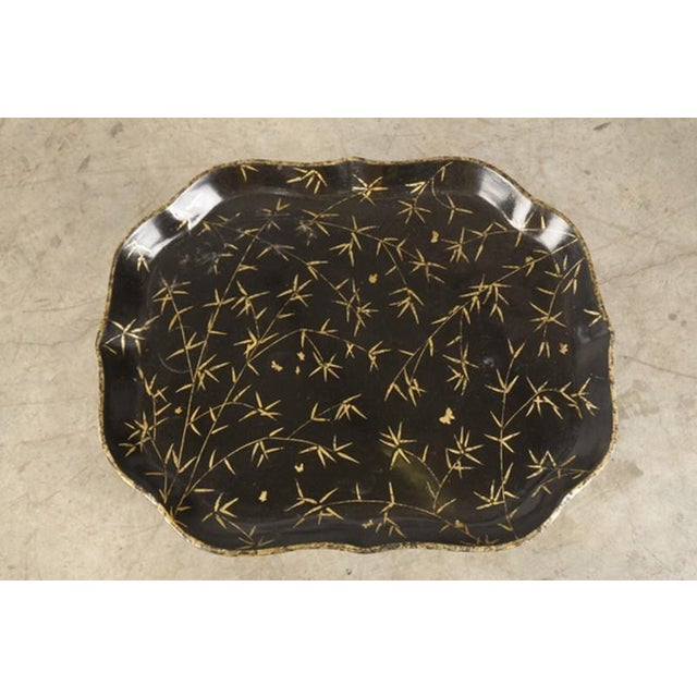 Gilded Papier Mache Tray, Scallop Profile, England C.1885, Mounted as a Table For Sale - Image 4 of 4