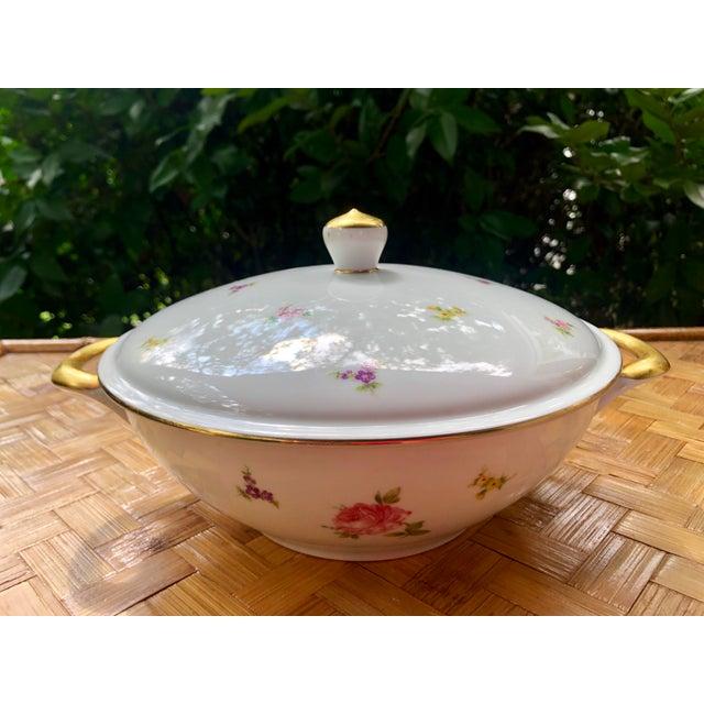"""Haviland """"Rose Chintz"""" Gilt Floral Porcelain Vegetable Tureen For Sale - Image 10 of 12"""