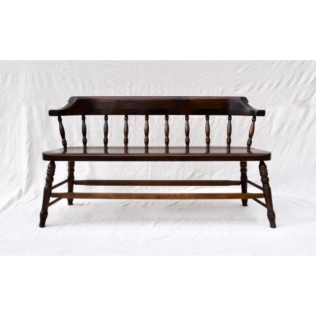 Farmhouse Pine Spindle Back Bench For Sale - Image 11 of 11
