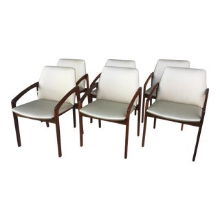 Vintage Mid Century Danish Modern Rosewood Dining Chairs- Set of 6 For Sale