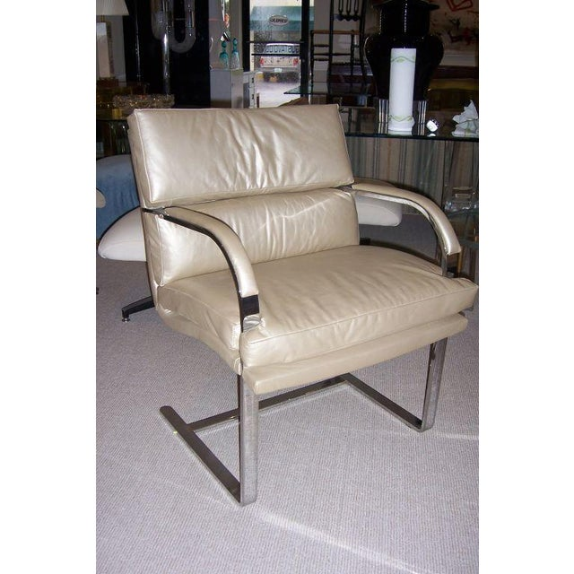A Heavy Steel Brueton Chair in Leather - Image 2 of 5