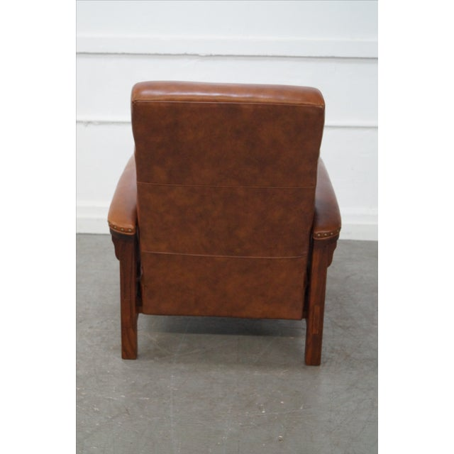 Mission Oak Leather Recliner Lounge Chair - Image 4 of 10