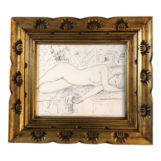 Original Vintage Female Nude Ink Drawing/Interior Study For Sale