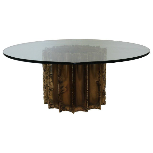 Mid-Century Brutalist Brass & Glass Cocktail Table - Image 1 of 5
