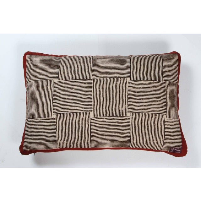 Gopal Indian Cotton Block Print Pillow in Black, White and Red For Sale - Image 4 of 5