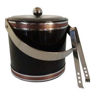 Georges Briard Black Vinyl & Chrome With Copper Tone Bands Ice Bucket and Tongs For Sale