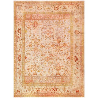 Decorative Large Room Size Antique Turkish Oushak Rug - 28′9″ × 38′1″ For Sale