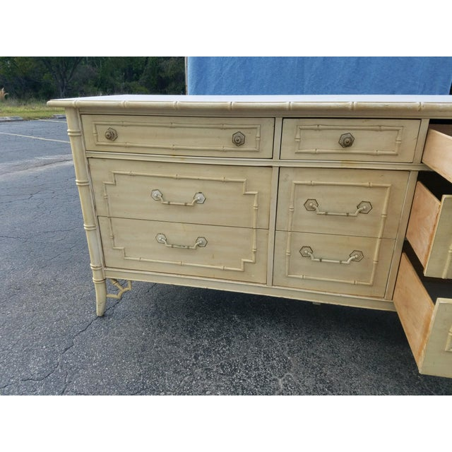 1970s 1970s Regency Thomasville Bamboo Style Dresser For Sale - Image 5 of 7